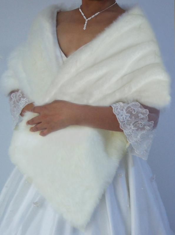 Ivory/Black Faux Fur Bridal Stole/Wrap