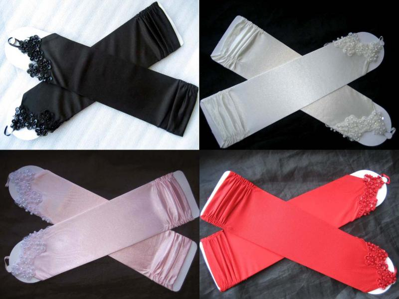 Ivory/Black/Pink/Red Satin Fingerless Gloves wed...