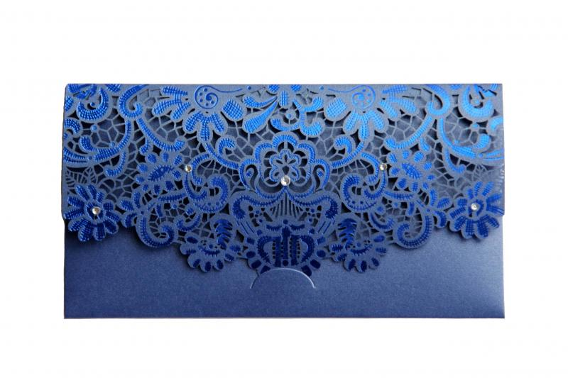 Blue Laser Cut Gift Money Vouchers Tokens Wallet...