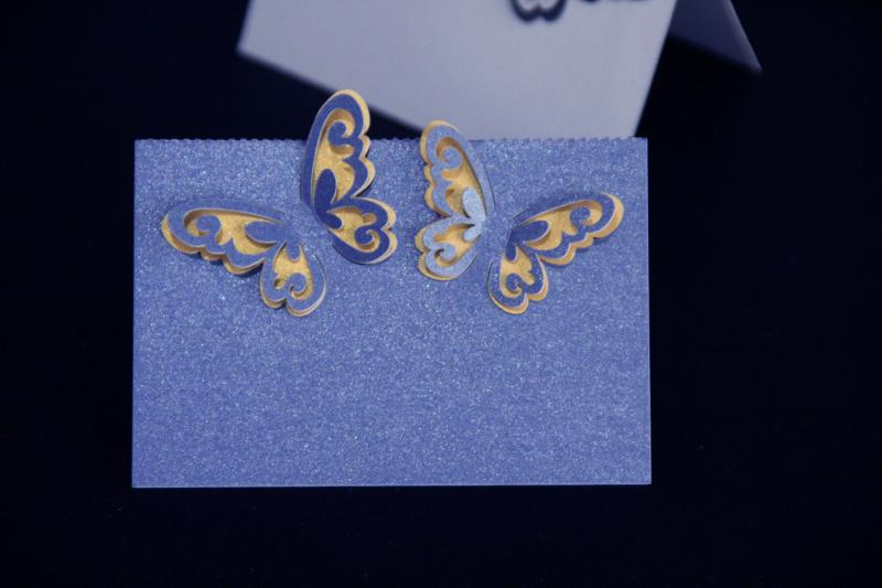 Blue Laser Cut 3D Butterfly Name Place Cards