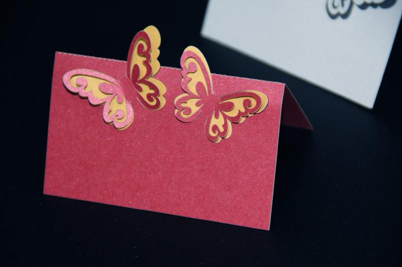 Burgundy Laser Cut 3D Butterfly Name Place Cards