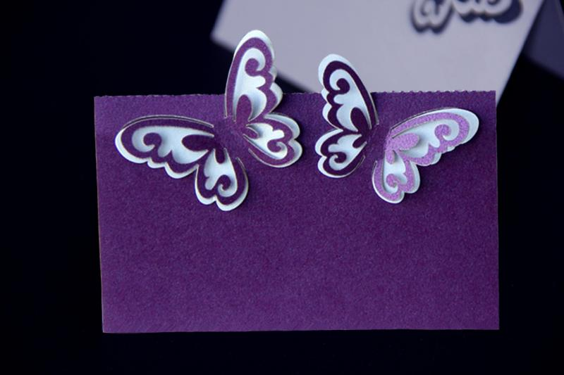 Purple Laser Cut 3D Butterfly Name Place Cards