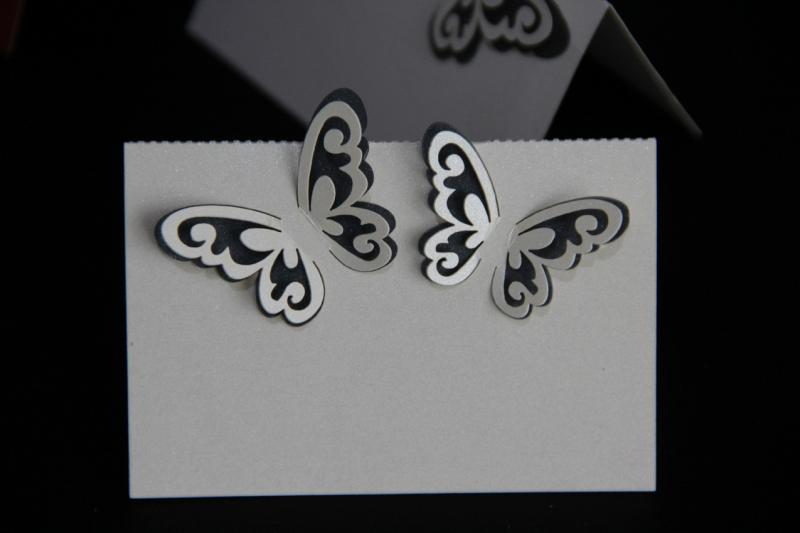 Blue Laser Cut 3D Butterfly Name Place Cards X and L Trading