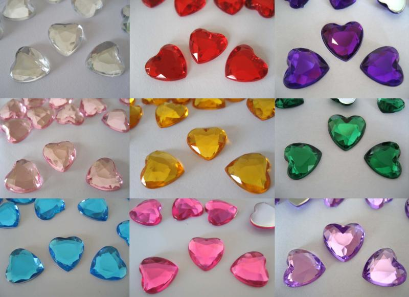 1000 of 12mm Heart shaped Table Confetti Crystals