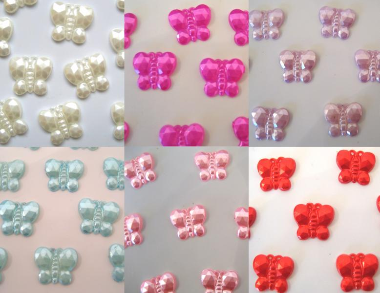 10mm Pearly Butterfly Table Confetti Gems Craft