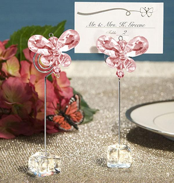 Pink Butterfly Wedding/Party Table Place Card Ho...
