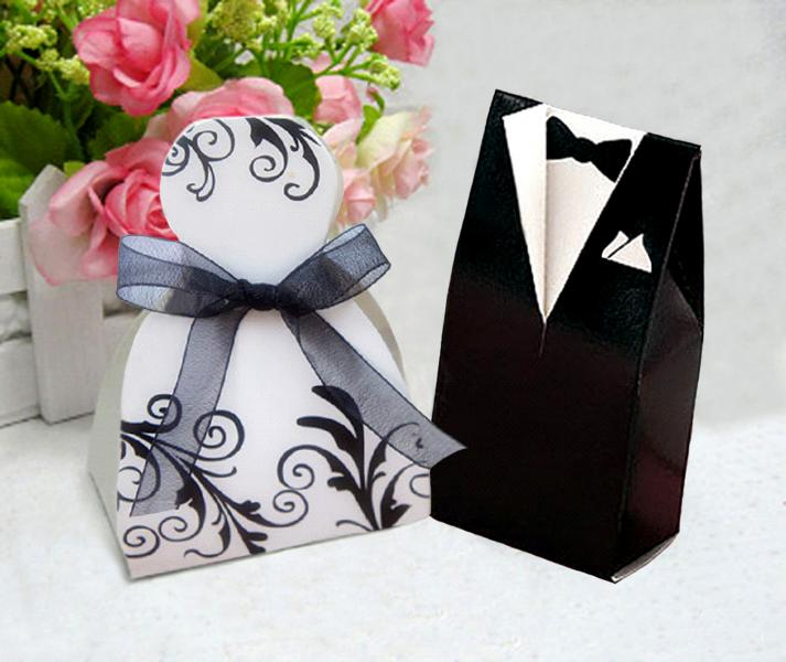 Bride Dress & Groom Tux Wedding/Party Sweets Fav...