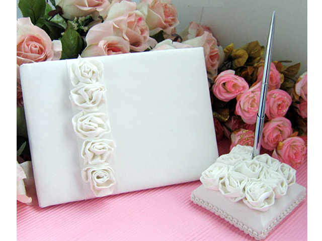 Ivory Wedding Guest Book & Pen Set With Rose