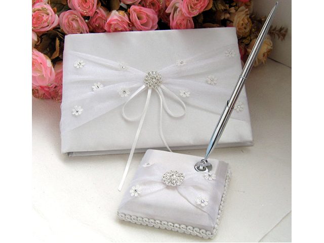 5 x White Wedding Guest Book & Pen Set With Bow ...
