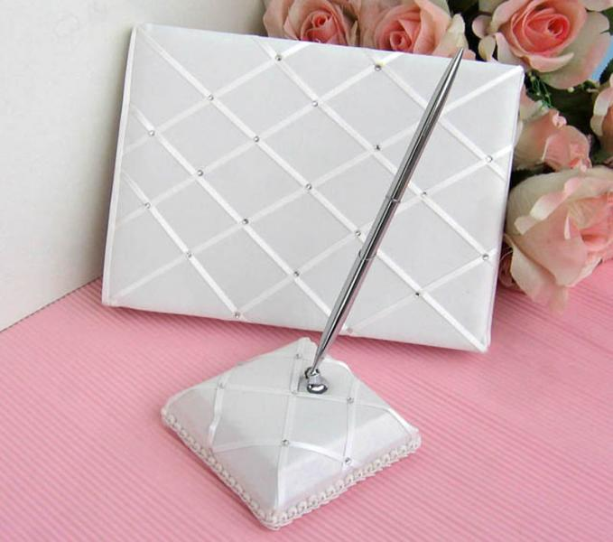 Ivory Wedding Guest Book & Pen Set with Diamonds
