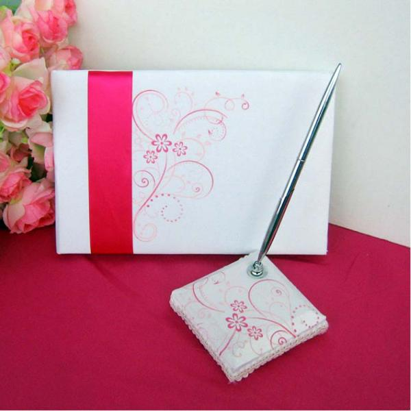 Ivory Wedding Guest Book & Pen Set with Pink Flo...