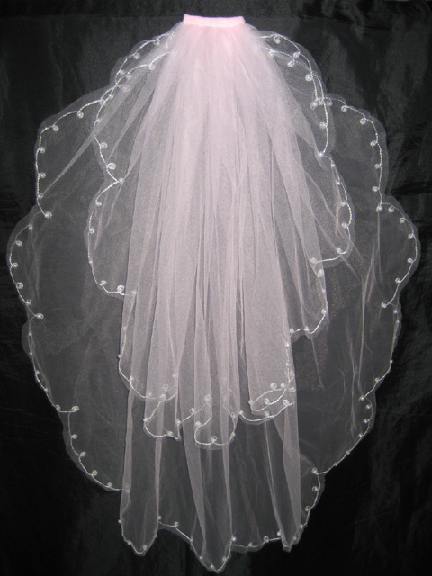 2 Tier Pink Bridal Wedding Veil with Comb Pearls
