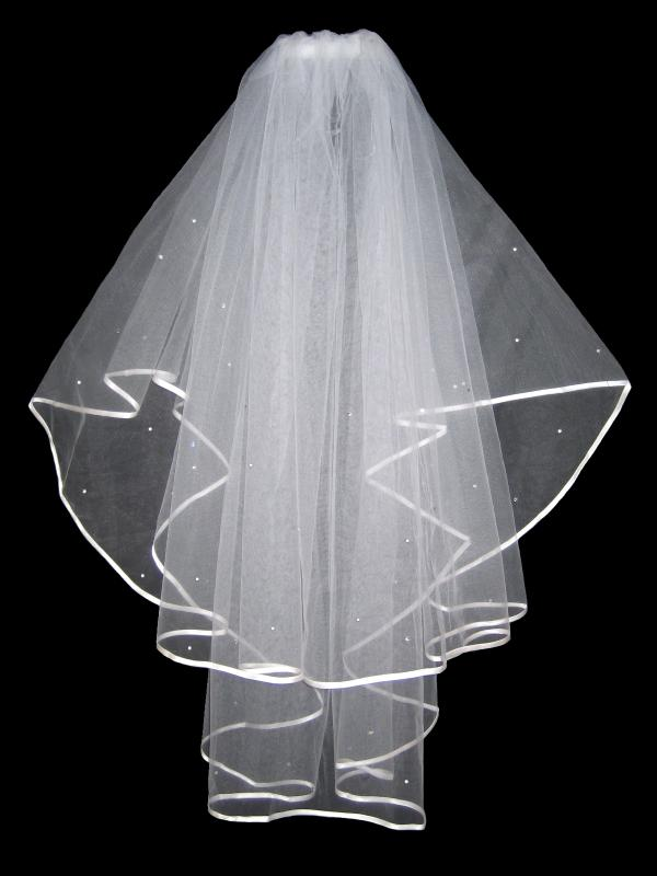2 TIER IVORY BRIDAL VEIL WITH CRYSTALS 36
