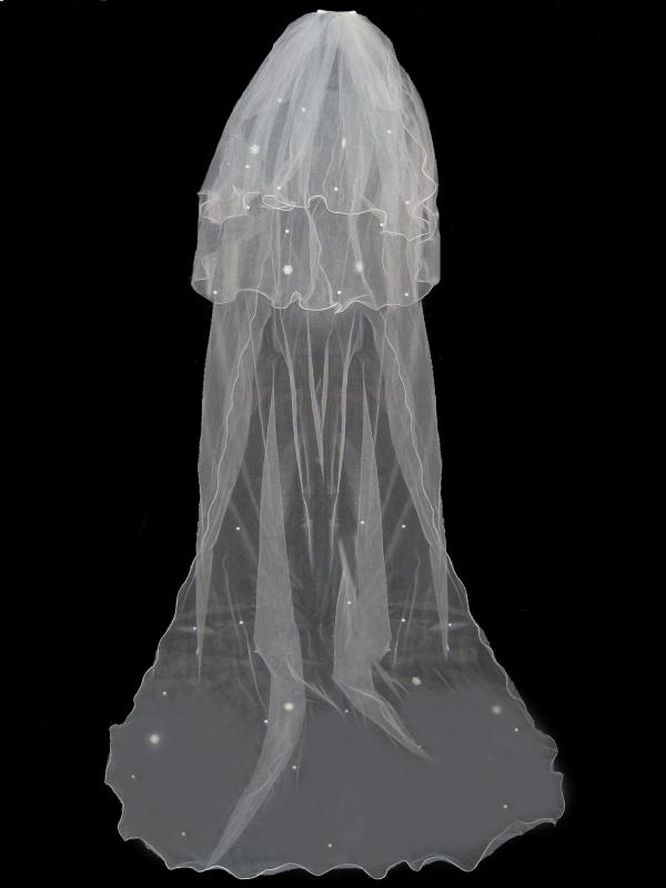 3 TIER IVORY LONG BRIDAL WEDDING VEIL WITH COMB ...